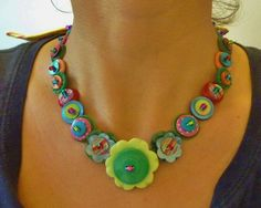 vintage button necklace calypso mix by wiggiewoo on Etsy, £24.00