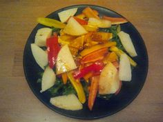 kale salad w/ peppers, oranges & jicama. Dressing: pomegranate molasses, dill weed, grapeseed oil and lime juice.