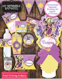 Kit de invitación personalizadas y para imprimir Rapunzel