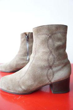 Bottines Boots fourrées T 38 mOumoute BEige Vintage 70 VTG Cuir Leather DAIM