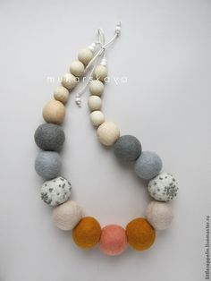 """Collares, granos hechos a mano.  Perlas de """"Día de Verano"""".  Mukarskaya Lyudmila.  Tienda Online Feria Maestros.  Collares, shёrst"""