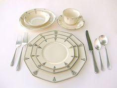 Deauville Art Deco Serving Platters LG 1931 Community China - Ivory Porcelain w/ Platinum, Vintage Wedding China