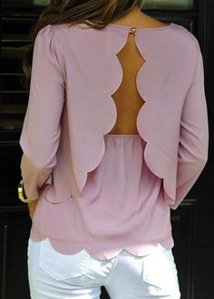 Open Back Pink Round Neck Scalloped Blouse @ LegacyLooks.com 1800-639-6710 #Summer #LegacyLooks #Fashion