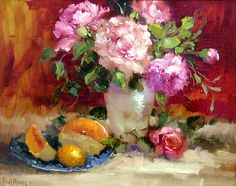 Fine Art-Hedi Moran MoranNew2005AA-Pink%20floral%20and%20Fruit-16x20