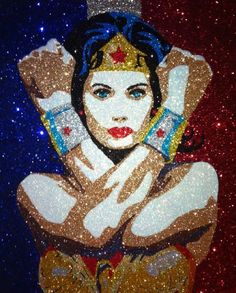 Wondy - ❤️ - Mind-blowing Glitter painting's by Vanessa Robles Foster. First Wonder Woman Comic, Blowing Glitter, Wonder Woman Pictures, My Superhero, Glitter Art, Mirror Painting, Watercolor Drawing, Cellphone Wallpaper, Comic Book Characters