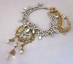 Handmade Repurposed Rhinestone Statement Necklace, Vintage Assemblage Jewelry by JryenDesigns