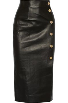 Tamara Mellon Double-faced leather wrap skirt and other apparel, accessories and trends. Browse and shop 8 related looks. Fashion Mode, Look Fashion, Fashion Outfits, Womens Fashion, Real Leather Skirt, Leather Dresses, Leather Skirts, Linen Dresses, Mode Monochrome