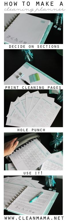 Make a cleaning planner to help get you in to a routine that actually works! Lots of great tips and pointers.