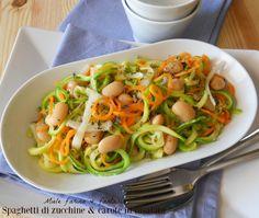 Insalata saporita con spaghetti di verdure, gustoso contorno e ottimo piatto unico da gustare anche fuori casa, a lavoro, ecc..Facile, leggera e colorata.