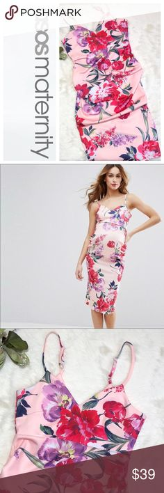 ASOS Maternity Plunge Floral Strappy Midi Dress Your baby bump never looked so good! This dress is perfect for Valentines Day date night or any Spring or Summer occasion.  Approximate measurements taken flat in inches: Bust 15 Empire Waist 13.5 Length 39 Excellent preowned condition. ASOS Maternity Dresses Midi