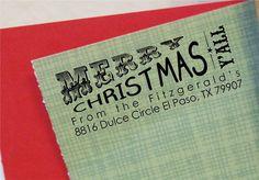 Texas Christmas Return Address Stamp Custom by ThePrintMint