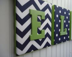 frames with fabric in the back and letters (from michaels?)