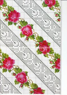 Beginning Cross Stitch Embroidery Tips - Embroidery Patterns Cross Stitch Borders, Cross Stitch Rose, Cross Stitch Flowers, Cross Stitching, Cross Stitch Embroidery, Hand Embroidery, Cross Stitch Patterns, Embroidery Patterns Free, Beading Patterns