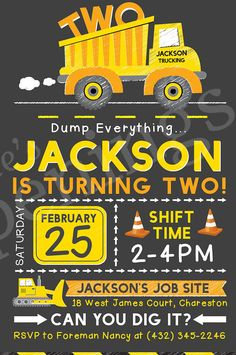 Construction Birthday Party Invitation Truck Birthday boy