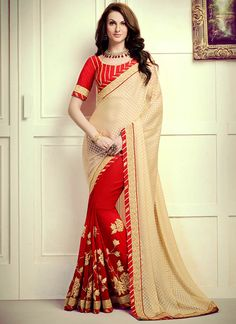 Buy Lace Work Red Designer Saree, Online #sarees #royal #designersarees #ethnic #glamour #sareelove