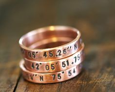 Personalized copper stacking rings....great idea for kids birthdays, wedding anniversary, longitude latitude of where you met, married etc.