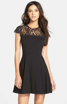 Free shipping and returns on BB Dakota 'Cindy' Lace Fit & Flare Dress at Nordstrom.com. Beautiful, delicate lace at the yoke and sleeves caps off this stunning fit-and-flare dress detailed with a striking back cutout.