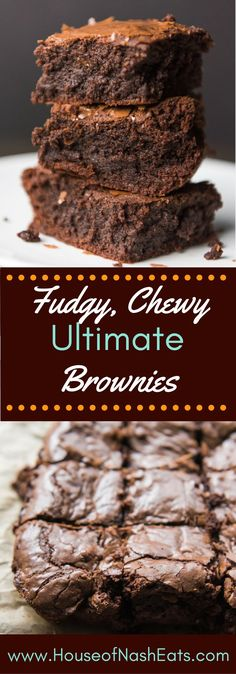Thick, Fudgy, Chewy, Ultimate Brownies are the most decadent, fantastic brownies ever! Intense chocolate flavor, tissue-thin crinkly crust, and ultra rich, your search for the ultimate brownie recipe ends here.