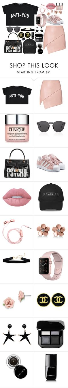 """ANTI-YOU"" by skittlebum ❤ liked on Polyvore featuring Michelle Mason, Clinique, Illesteva, Olympia Le-Tan, adidas Originals, Lime Crime, Allurez, 1928, Chanel and Bobbi Brown Cosmetics"