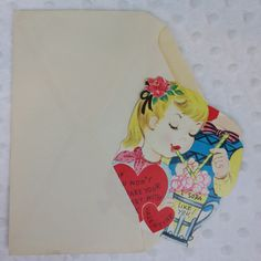 Vintage Valentine's Day Card I Soda Like You Hearts Boy Girl Unused Spinner Top