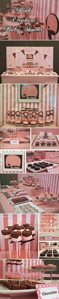 Pink Elephant Baby Shower - Dessert Table - Pink and Brown / Mesa de postres y dulces para baby shower en colores rosa y café - Tema: Elefante