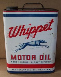 RARE Vintage Whippet 2 Gallon Metal Motor Oil Can Gas Station Garage | eBay