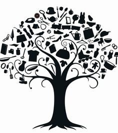 I like how this tree has so many things in it that represent daily life -- maybe this could be some inspiration for June logo?