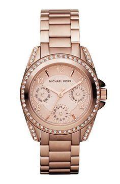 Michael Kors Chronograph Blair Mini Rose Gold-Tone Stainless Steel Bracelet