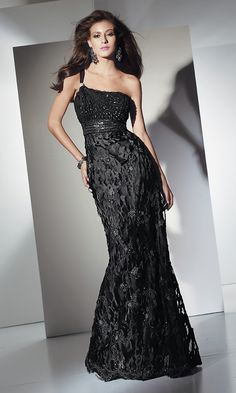 One Shoulder Velvet Chiffon Gown $290.00