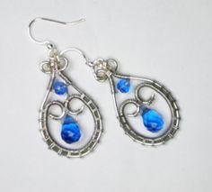 Wire wrapped earrings. tear drop earrings blue bead by BettyLeeArt, $15.00
