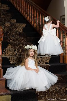 stellina cute couture 2015 2016 adorable designer baby toddler flower girls dresses bridal attendants back view