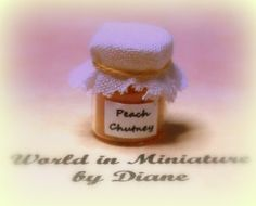 Dollhouse Food Peach Chutney Miniature Food 1/12 scale 1 inch Doll house    Lovely item for your dolls house miniature scene. Hand crafted by