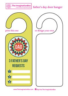 free download father's day door hanger - treat dad with 3 special requests - or design your own with the blank template