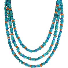 Turquoise, Lapis, Spiny Oyster, Gaspeite Multi-strand Necklace Playful and light-hearted, southwestern necklaces encompass the carefree casual character of the contemporary woman. This necklace with natural gemstone beads and sparkling silver combine in a fun and fresh southwestern style.