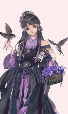 New fashion ilustration background water colors 24 ideas Anime Art Girl, Manga Girl, Manga Anime, Asian Style, Chinese Style, Hanfu, Character Art, Character Design, Chinese Drawings