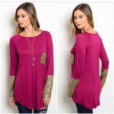 Gorgeous detailed tunic sz S M L Beautiful tunic top  Size small Bust 34-36 Size med bust 36-38 Size Large bust 38-40  Sleeve 25 Longest length 31 Side length 27  Matte gold sequins in sleeves and front pocket  Nice stretch and ever so soft  95% rayon\5% spandex  NWOT And excellent quality    PRICE IS FIRM UNLESS BUNDLED   ❤️ PLEASE DON'T PURCHASE THIS LISTING COMMENT SIZE AND I WILL MAKE YOU A SEPARATE LISTING ❤️ Tops Tunics