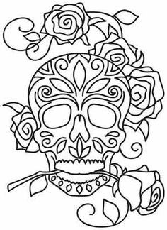 Dia de los Muertos design (UTH1392) from UrbanThreads.com - Lots of skull patterns. $1.00