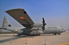 Indian Air Force's Lockheed C-130J Super Hercules aircraft stationed at Hindon Airbase, near Delhi, India. Photo Hemant.rawat1234. Manufactured by Lockheed Martin, the C-130J Super Hercules is designed for airborne assault, search-and-rescue (SAR), scientific research support, weather reconnaissance and aerial refuelling, as well as maritime patrol and aerial fire fighting missions.