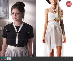 Aria�s black studded top and white harness skirt on Pretty Little Liars.  Outfit Details: http://wornontv.net/46023/ #PLL