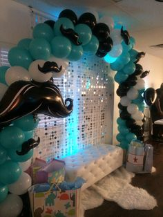 Little Gentleman Baby Shower balloon arch Its A Boy Balloons, Baby Shower Balloons, Birthday Balloons, Baby Shower Cakes, Lil Man Baby Shower, Little Man Babyshower, Baby Shower Mustache, Boy Baby Shower Themes, Baby Showers