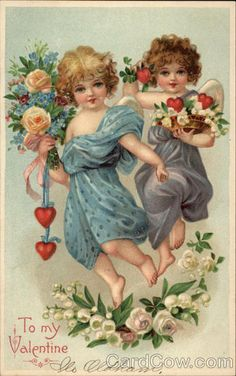 Two Angel Girls With Flowers - To My Valentine Valentine Images, Vintage Valentine Cards, Valentines For Kids, Vintage Greeting Cards, Vintage Ephemera, Vintage Postcards, Images Victoriennes, Valentines Illustration, Victorian Valentines