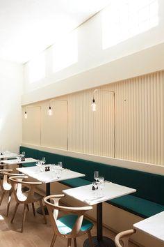 Italy restaurant by Norm Architects, Copenhagen Italy Restaurant, Restaurant Seating, House Restaurant, Restaurant Design, Commercial Design, Commercial Interiors, Hotel Provence, Copenhagen Restaurants, Home Temple