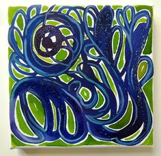 Hand painted original canvas featuring an abstract composition, painted with watercolours, aniline watercolours, gauche and glitter. .....entanglement and interconnection; natures vitality and energy embodied by the colours green and blue, and the dynamics of the interlocking shapes; inspired by Art Nouveau ornaments....  Signed and dated on the reverse.  Does not need framing, ready to be put on the wall  size 15 x 15 cm / 5.8 x 5.8 in