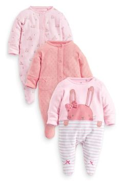 Buy Three Pack Pink Bunny Sleepsuits (0mths-2yrs) from the Next UK online shop