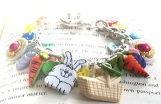 Easter Button Charm Bracelet by LaleePops82 on Etsy, $22.00