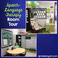 Take a Peek Inside My Speech-Language Therapy Room - Natalie Snyders, SLP Speech Language Pathology, Speech And Language, Cute Office Decor, Office Ideas, Classroom Organization, Speech Classroom Decor, Classroom Resources, Organizing, Speech Room
