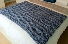 Chunky cable hand knit blanket  / throw     by LoopsandLavender, £38.99