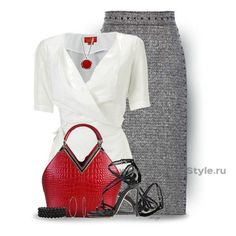 a red bag saves a plain outfit from dullsville Office Attire Women, Work Attire, Outfit Chic, Classic Outfits, Dressy Outfits, Professional Outfits, Business Outfits, Classy Women, Work Fashion