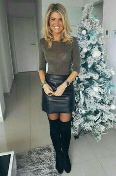 Gorgeous blonde amateur by Christmas tree modeling tight knit top, black leather… Beautiful blonde amateur from Christmas Tree who models a tight knit top, a black leather mini skirt and OTK boots Skirt Outfits, Sexy Outfits, Tight Dresses, Sexy Dresses, Mode Pop, Black Leather Mini Skirt, Look Fashion, Womens Fashion, Latest Fashion