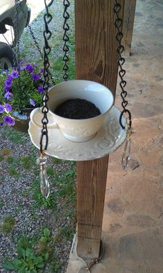 Cup and saucer bird feeder. And baubles!